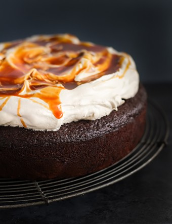 Chocolate Buttermilk Cake with Earl Grey Icing and Salted Caramel